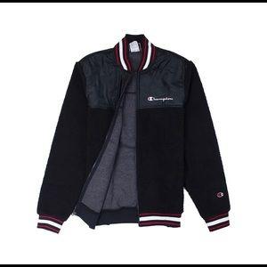 Champion Men's Black Sherpa Baseball Jacket